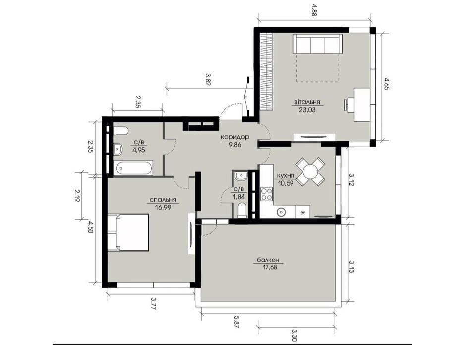 Планировка 2-комнатной квартиры в ЖК Echo Park 2 72.56 м², фото 206043