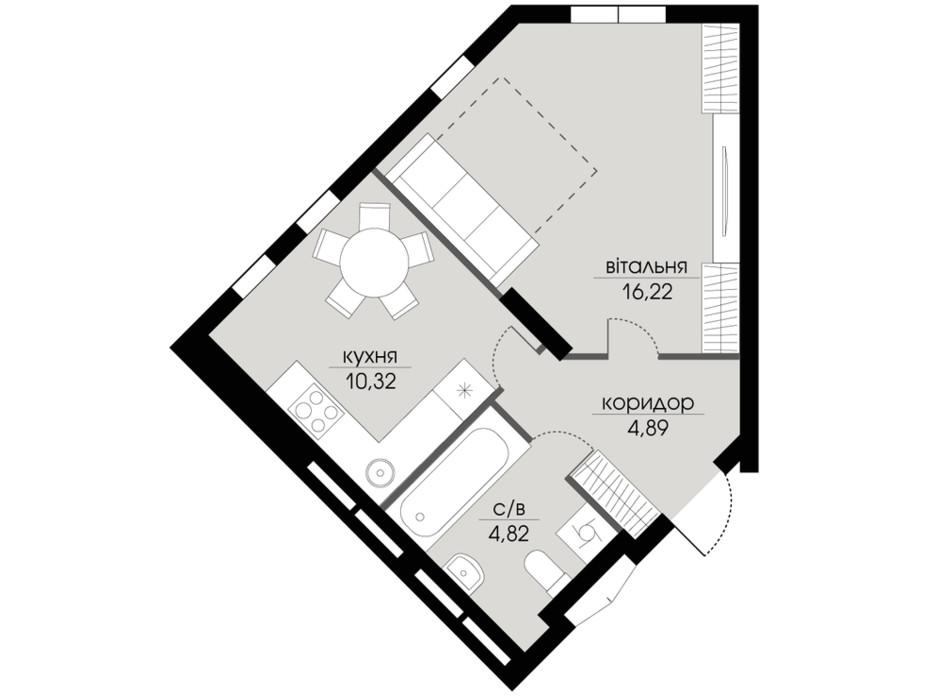 Планування 1-кімнатної квартири в ЖК Echo Park 2 36.25 м², фото 206044