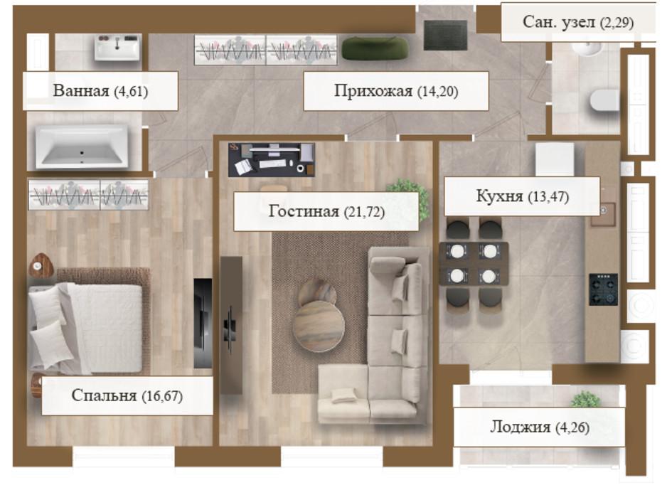 Планировка 2-комнатной квартиры в ЖК Grand deLuxe на Садовой 77.22 м², фото 206136