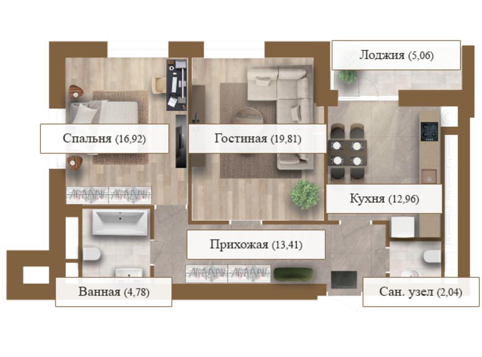 Планировка 2-комнатной квартиры в ЖК Grand deLuxe на Садовой 74.98 м², фото 206137