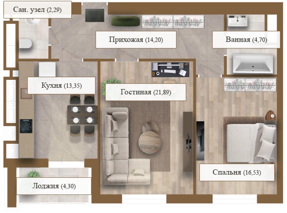 Планування 2-кімнатної квартири в ЖК Grand deLuxe на Садовій 77.26 м², фото 206138