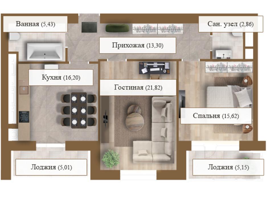 Планировка 2-комнатной квартиры в ЖК Grand deLuxe на Садовой 85.39 м², фото 206139