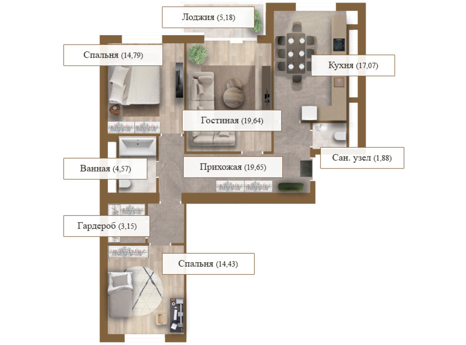 Планировка 3-комнатной квартиры в ЖК Grand deLuxe на Садовой 100.36 м², фото 206141