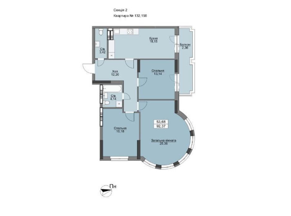 Планировка 3-комнатной квартиры в ЖК Vyshgorod Plaza 94.37 м², фото 206306