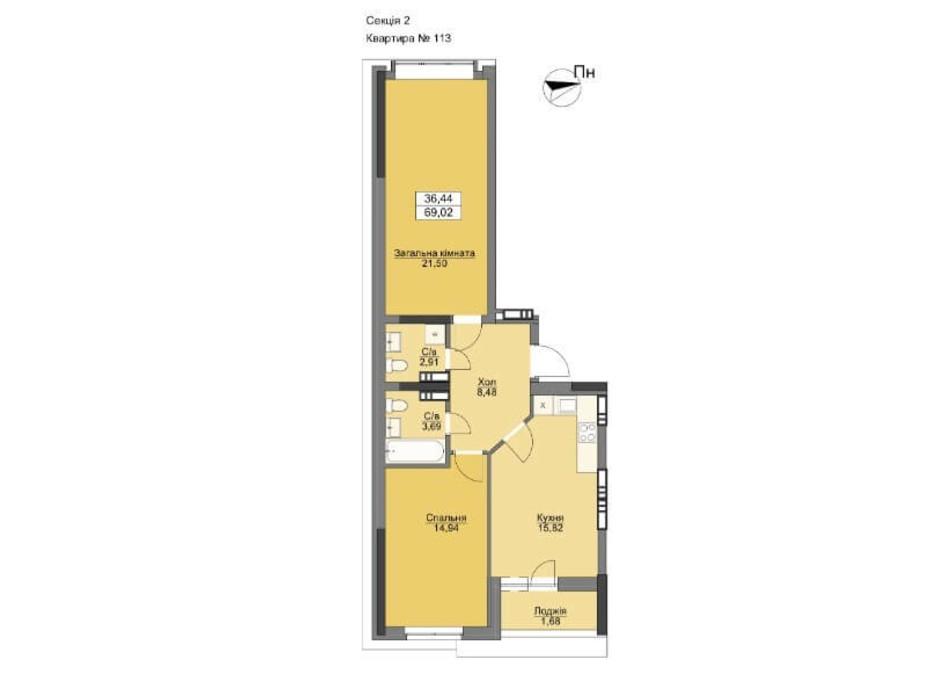 Планування 2-кімнатної квартири в ЖК Vyshgorod Plaza 72.01 м², фото 206307