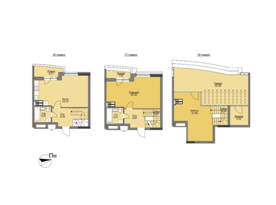 Планировка многоуровневой квартиры в ЖК Vyshgorod Plaza 117.15 м², фото 206316