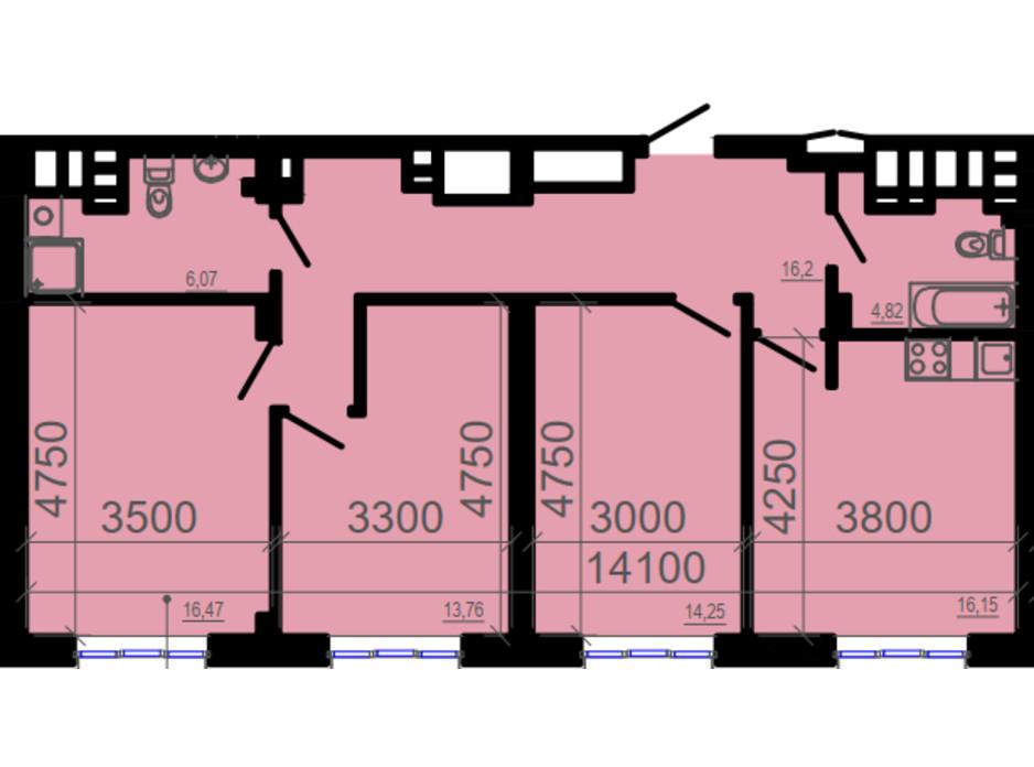 Планировка 3-комнатной квартиры в ЖК Фаворит 90.94 м², фото 206324