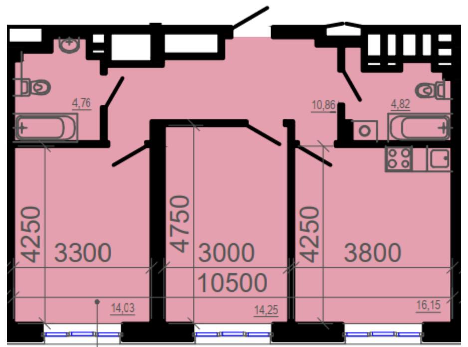 Планировка 2-комнатной квартиры в ЖК Фаворит 67.43 м², фото 206325