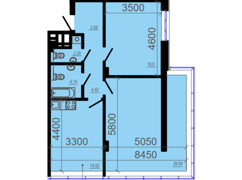 Планировка 2-комнатной квартиры в ЖК Фаворит 81.48 м², фото 206326