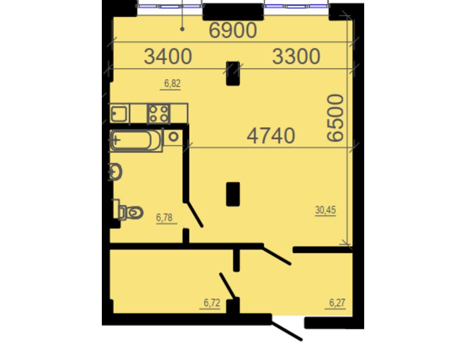 Планировка 2-комнатной квартиры в ЖК Фаворит 57.48 м², фото 206327