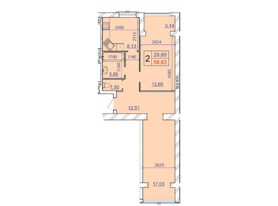 Планировка 2-комнатной квартиры в ЖК Grand Royal 58.83 м², фото 206823