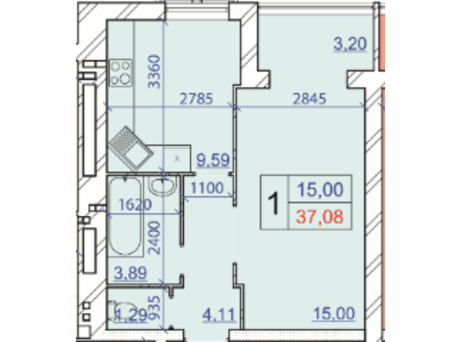 Планування 1-кімнатної квартири в ЖК Grand Royal 37.08 м², фото 206832