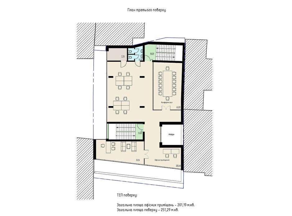 Планировка помещения в БЦ Антоновича 54а 251.29 м², фото 207106