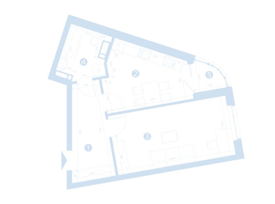 Планировка 1-комнатной квартиры в ЖК Берег Днепра 46.92 м², фото 207690