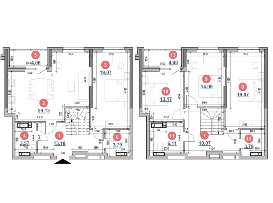 Планировка многоуровневой квартиры в ЖК Берег Днепра 143.1 м², фото 207710