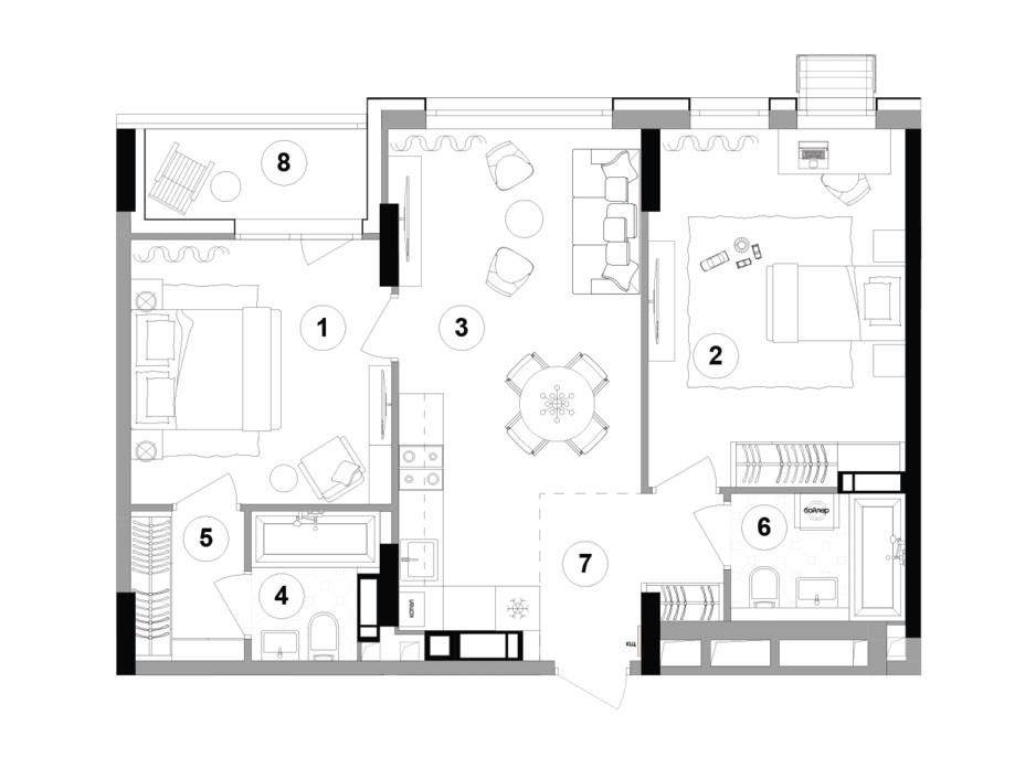 Планування 2-кімнатної квартири в ЖК Lucky Land 71.75 м², фото 207863