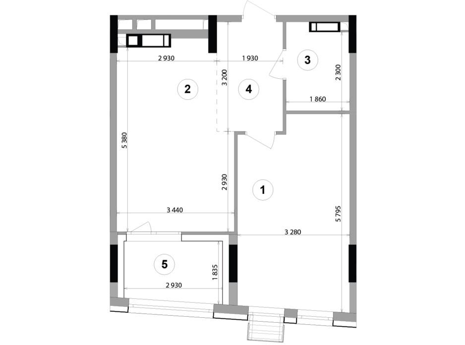 Планировка 1-комнатной квартиры в ЖК Lucky Land 50.91 м², фото 207898