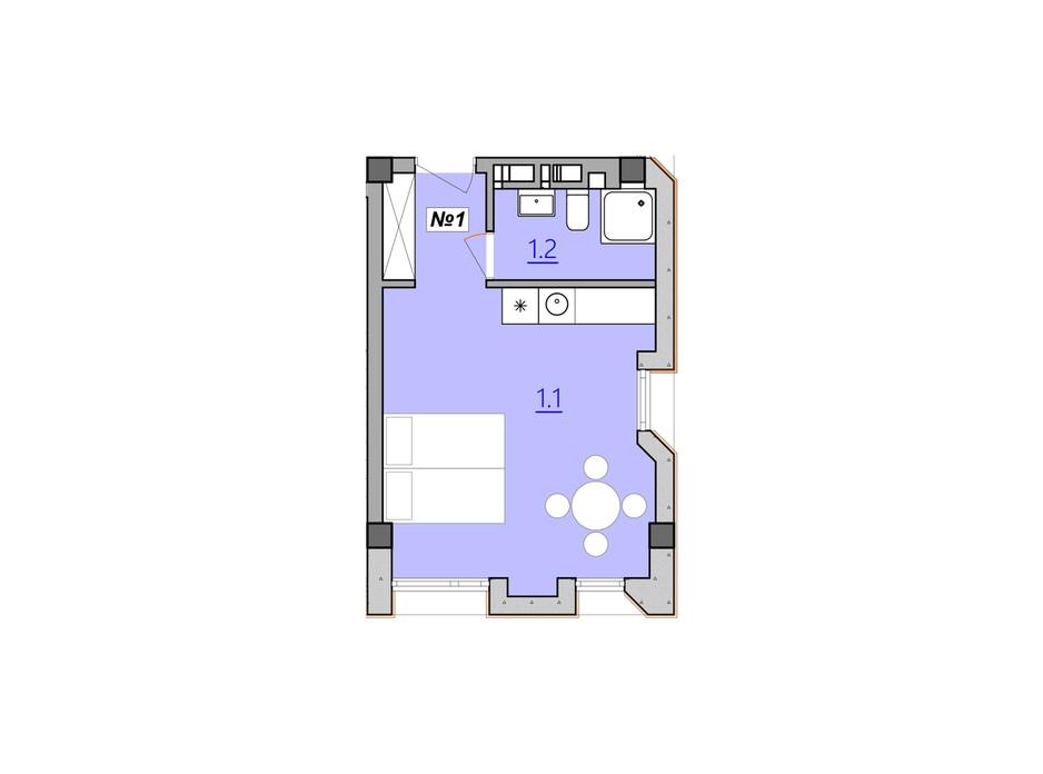 Планировка свободная планировка квартиры в Апарт-комплекс Кампус 28 м², фото 207933