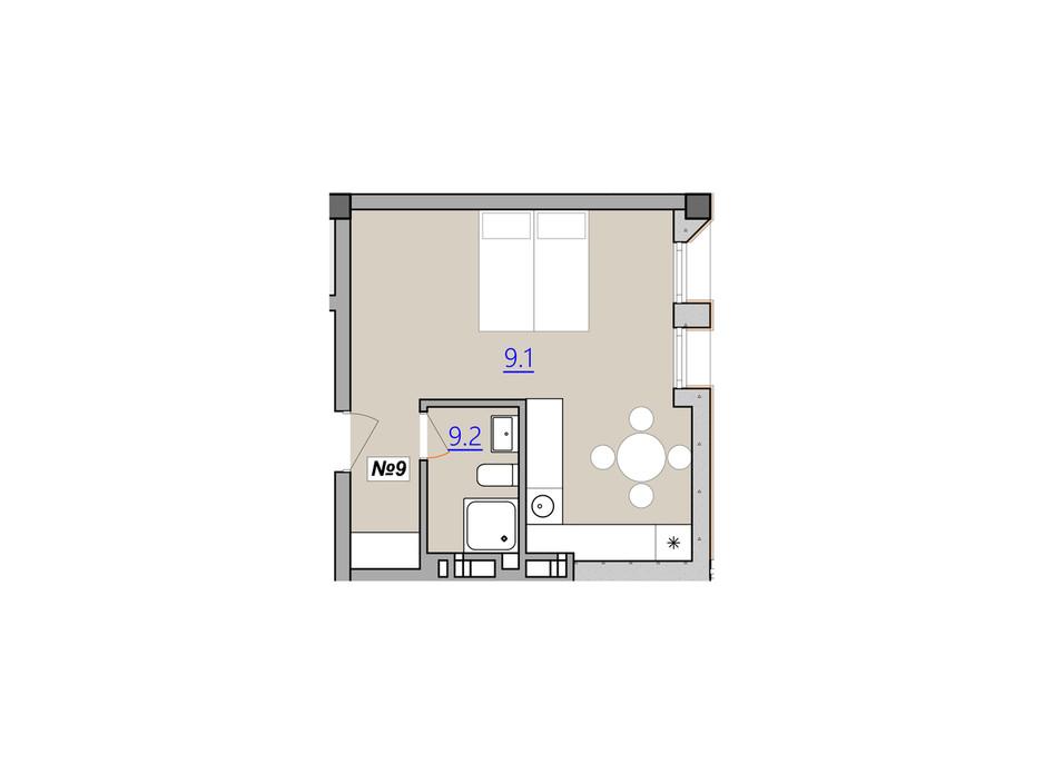 Планировка свободная планировка квартиры в Апарт-комплекс Кампус 30.4 м², фото 207935