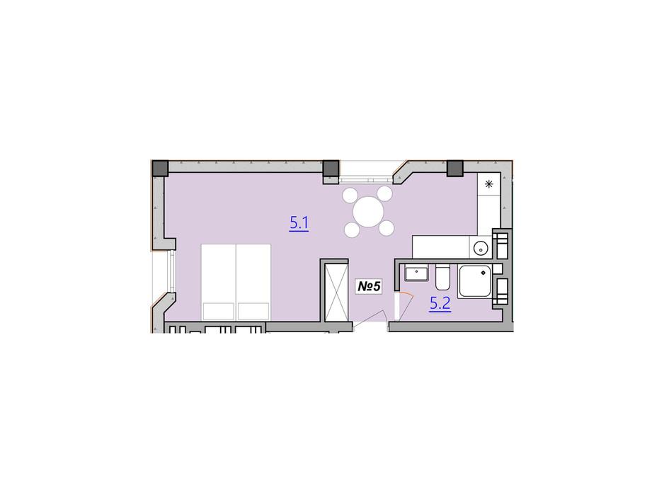 Планировка свободная планировка квартиры в Апарт-комплекс Кампус 31 м², фото 207937