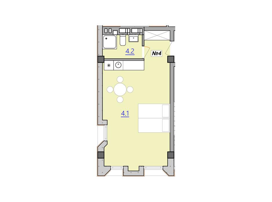 Планировка свободная планировка квартиры в Апарт-комплекс Кампус 34.3 м², фото 207939