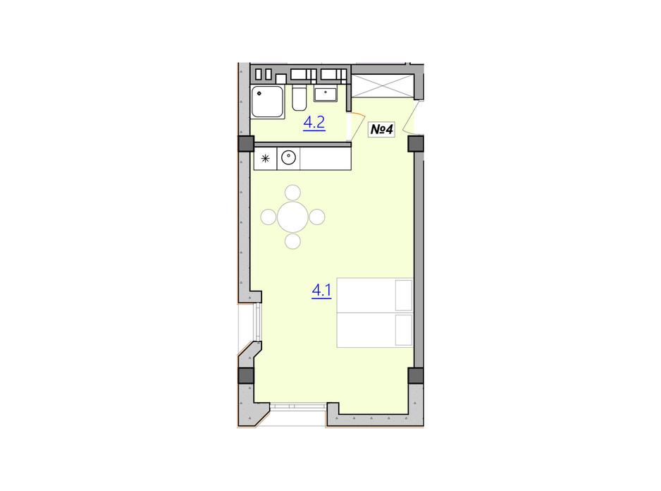 Планировка свободная планировка квартиры в Апарт-комплекс Кампус 34.6 м², фото 207940