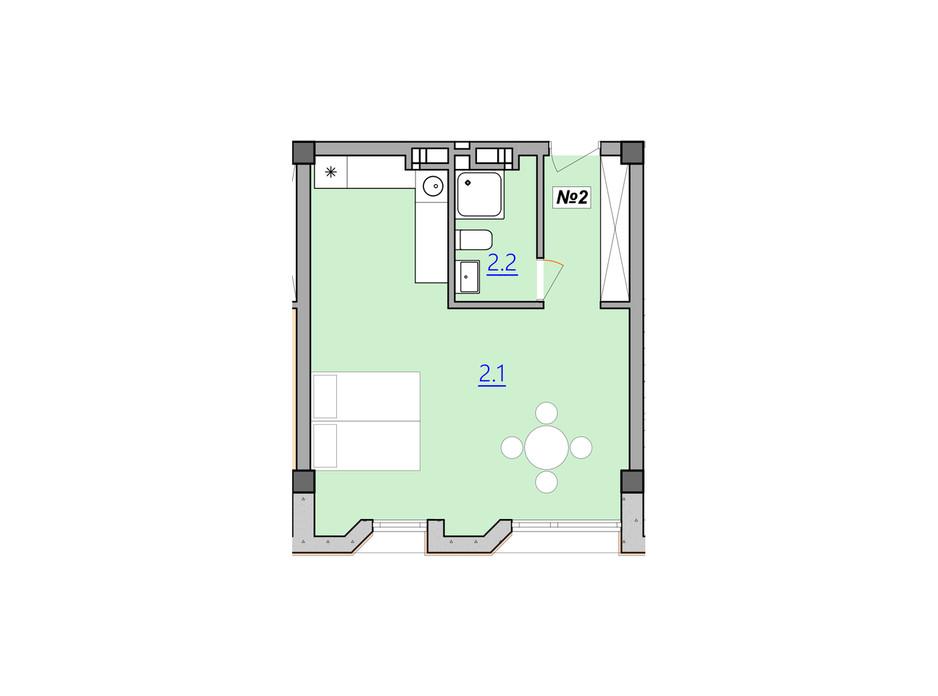 Планування вільне планування квартири в Апарт-комплекс Кампус 37.6 м², фото 207942