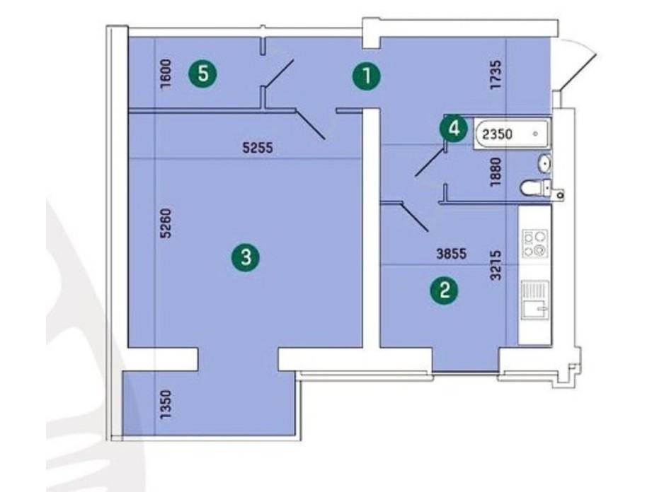 Планировка 1-комнатной квартиры в ЖК Заречный 68.54 м², фото 208389