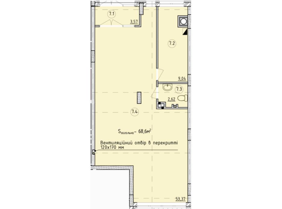 Планировка помещения в ЖК Globus Park 68.6 м², фото 209351