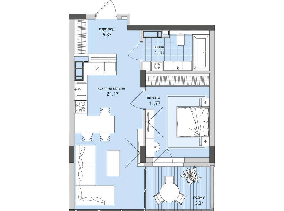 Планування 1-кімнатної квартири в ЖК Park Lake City 47.3 м², фото 209641