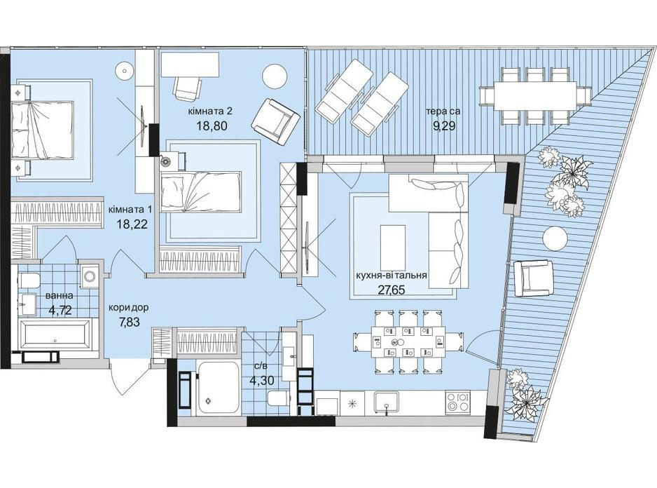 Планування 2-кімнатної квартири в ЖК Park Lake City 90.81 м², фото 209645
