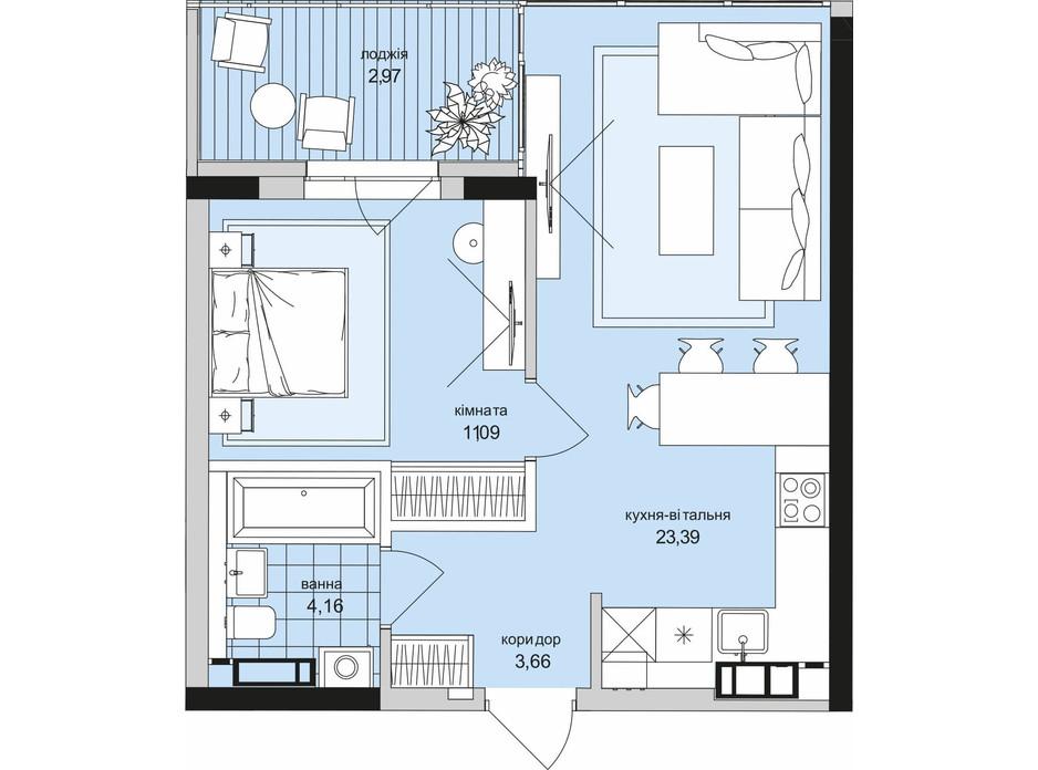 Планировка 1-комнатной квартиры в ЖК Park Lake City (Парк Лейк Сити) 45.27 м², фото 209649