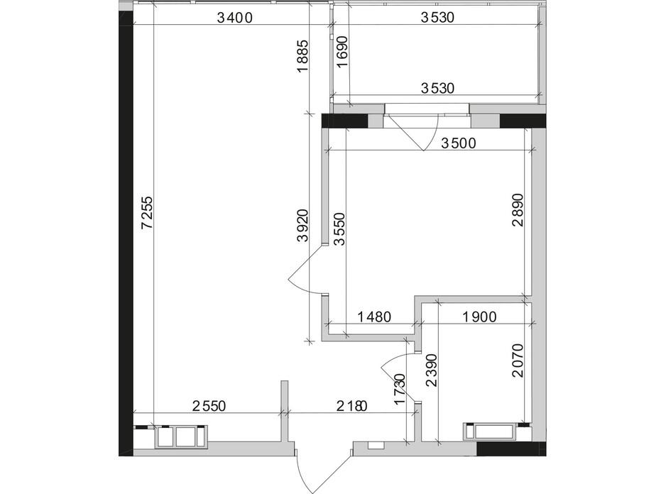 Планування 1-кімнатної квартири в ЖК Park Lake City 45.24 м², фото 209659