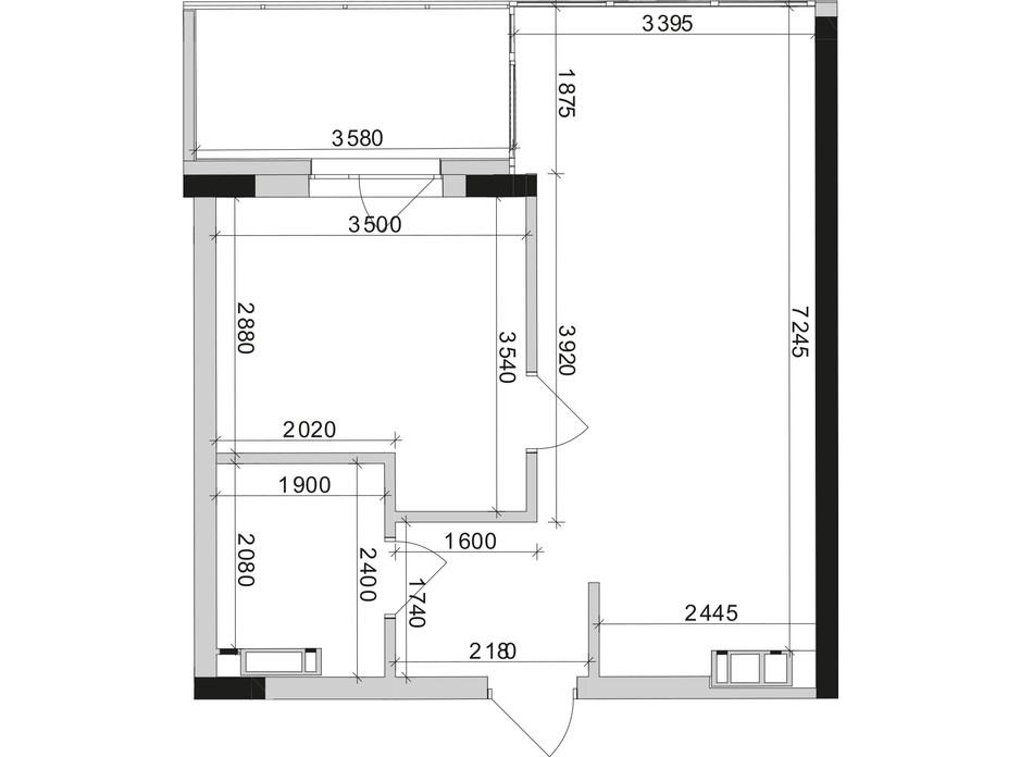 Планировка 1-комнатной квартиры в ЖК Park Lake City (Парк Лейк Сити) 44.67 м², фото 209660