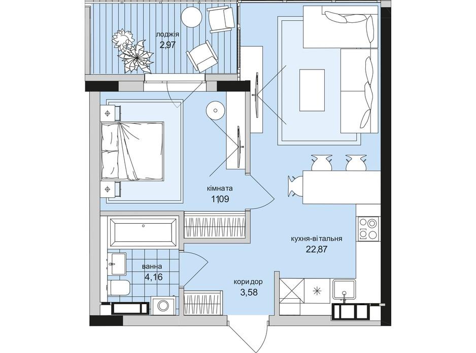 Планировка 1-комнатной квартиры в ЖК Park Lake City (Парк Лейк Сити) 44.67 м², фото 209662