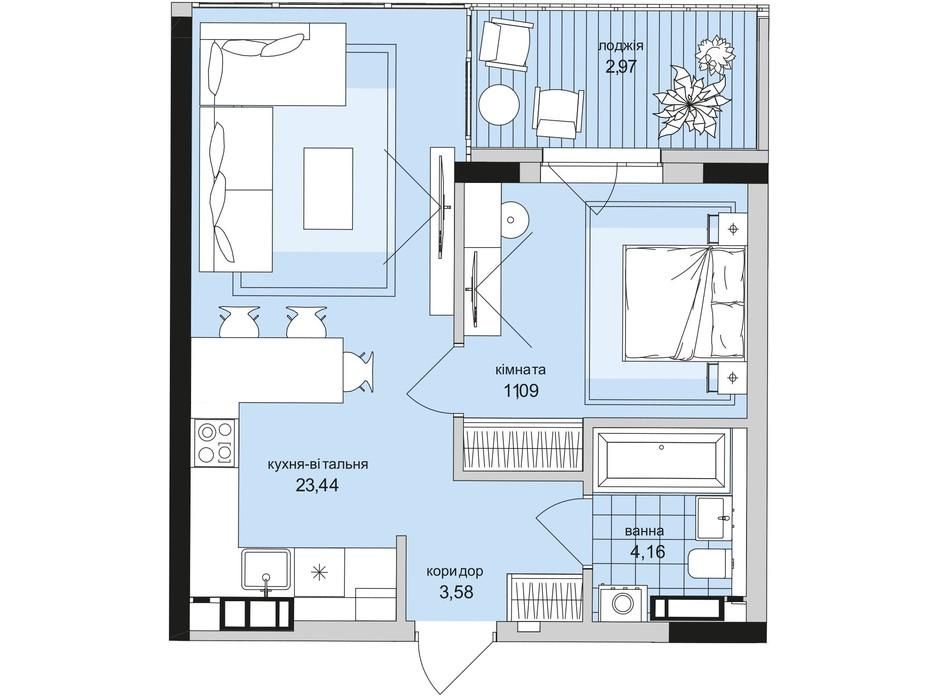Планування 1-кімнатної квартири в ЖК Park Lake City 45.24 м², фото 209663