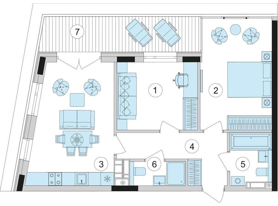 Планування 2-кімнатної квартири в ЖК Park Lake City 66.84 м², фото 209670