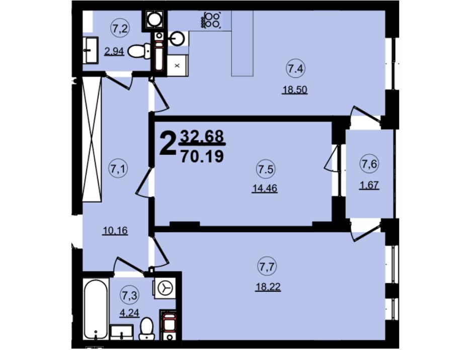 Планировка 2-комнатной квартиры в ЖК Globus Central Park 70.19 м², фото 209732