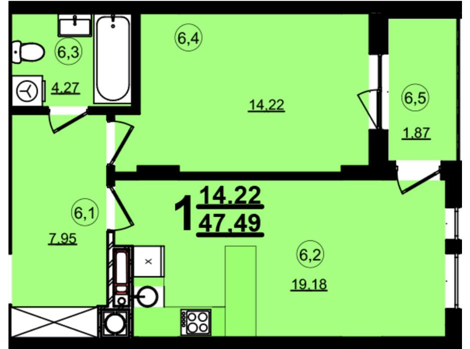 Планировка 1-комнатной квартиры в ЖК Globus Central Park 47.49 м², фото 209735
