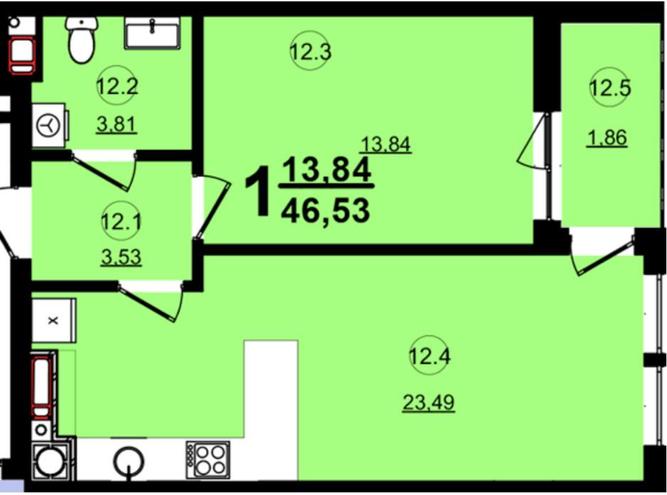 Планировка 1-комнатной квартиры в ЖК Globus Central Park 46.53 м², фото 209737