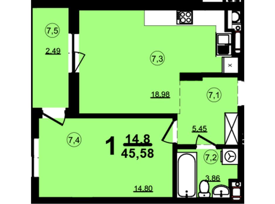 Планировка 1-комнатной квартиры в ЖК Globus Central Park 45.58 м², фото 209742