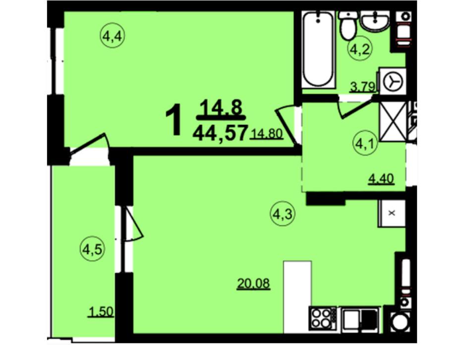 Планировка 1-комнатной квартиры в ЖК Globus Central Park 44.57 м², фото 209746