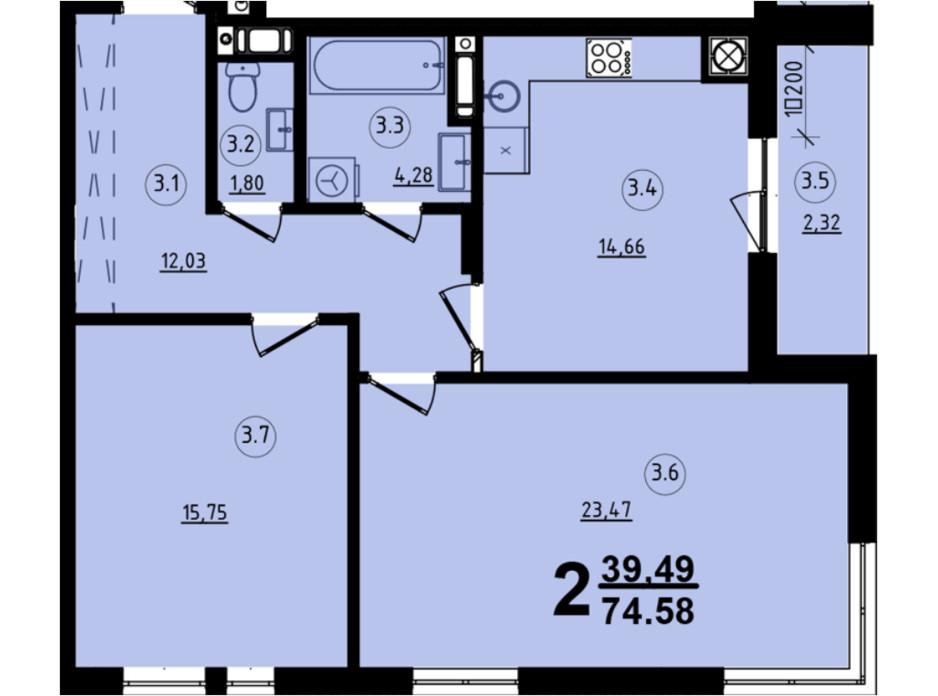 Планировка 2-комнатной квартиры в ЖК Globus Central Park 74.58 м², фото 209751
