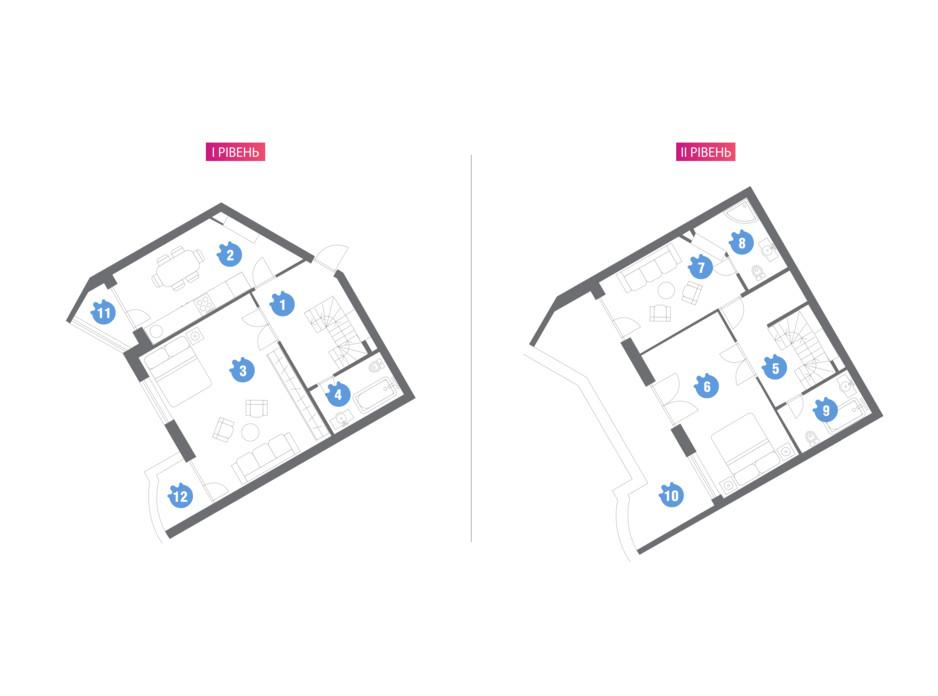Планировка многоуровневой квартиры в ЖК Family & Friends 123.28 м², фото 209853