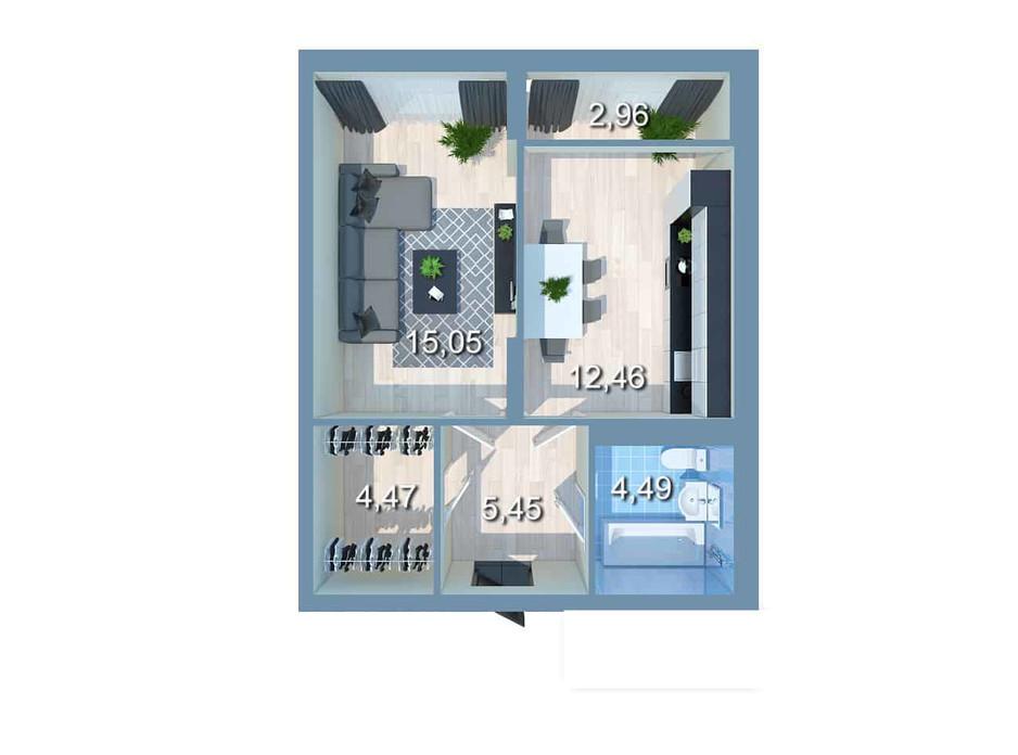 Планування 1-кімнатної квартири в ЖК Star City 41.94 м², фото 209931