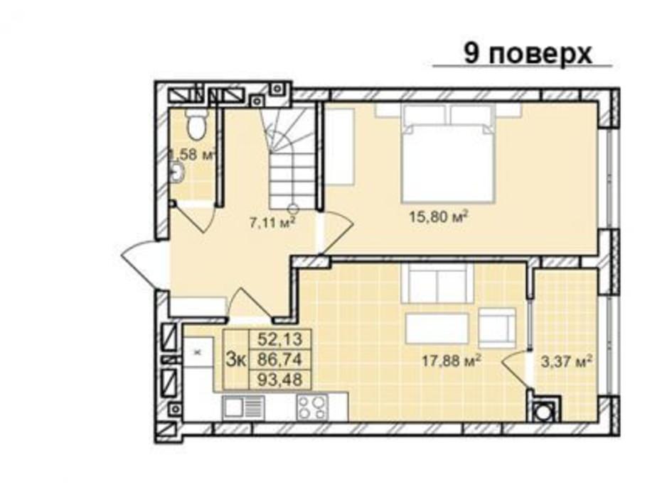 Планування багаторівневої квартири в ЖК Софіївка 93.5 м², фото 210426