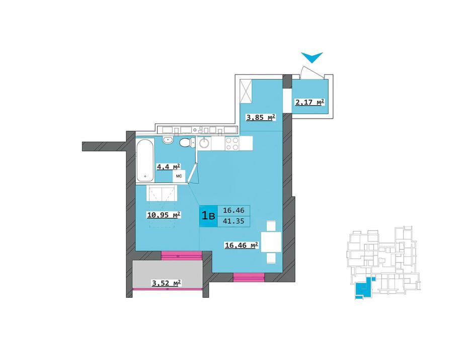 Планировка 1-комнатной квартиры в ЖК Столичный 41.35 м², фото 210501