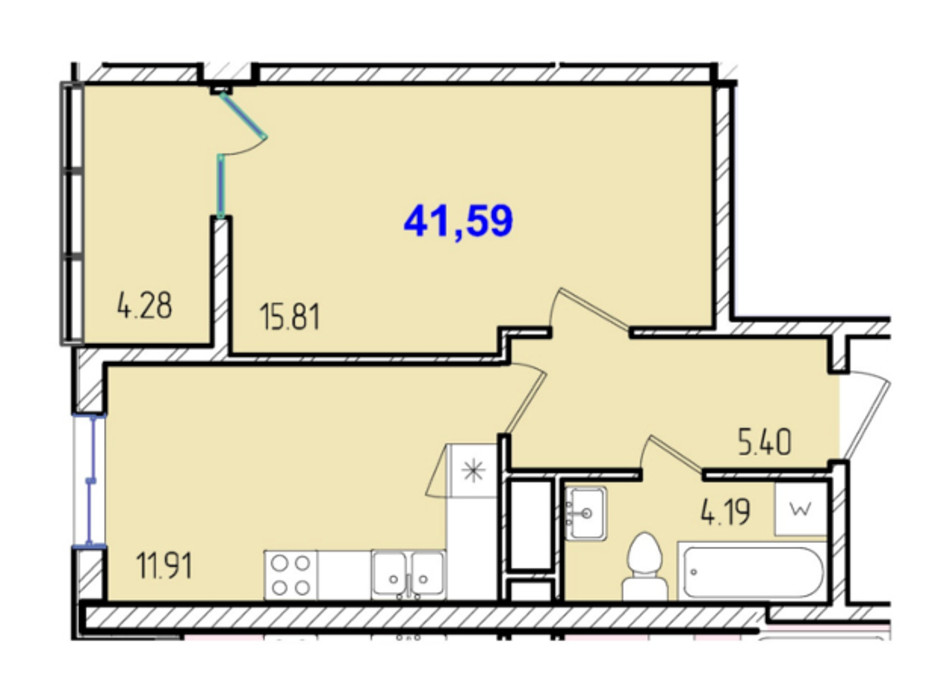 ЖК Сороковая жемчужина планировка 5