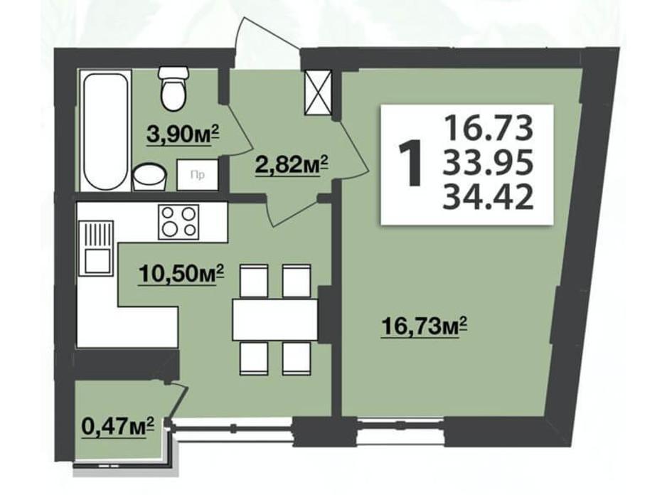 Планировка 1-комнатной квартиры в ЖК Мята Авеню 34.42 м², фото 210631