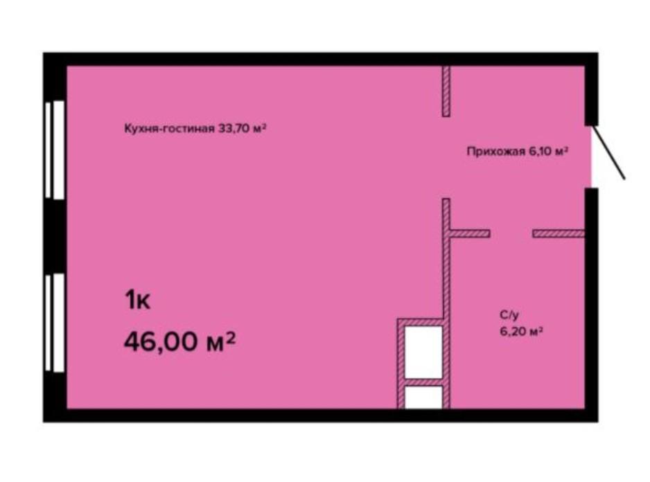 Планування смарт квартири в ЖК Sea View 46 м², фото 211146